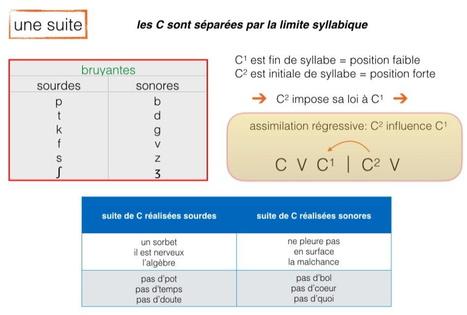 Suite de consonnes: elles sont séparées par la limite syllabique