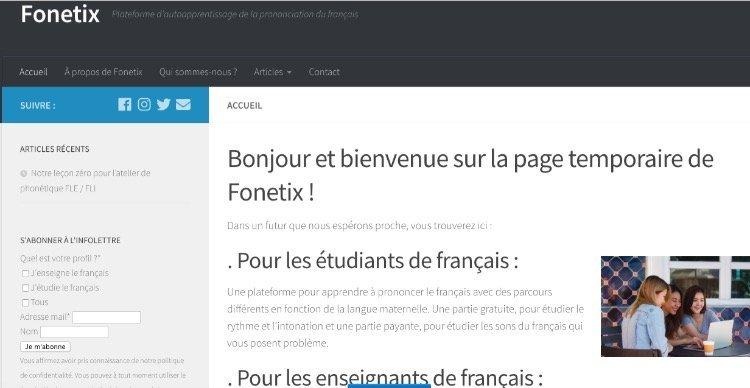 Fonetix page d'accueil