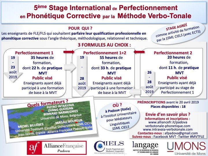 Stage international de Phonétique corrective, Padoue 2019 - 5ème édition - Au son du fle